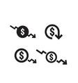 dollar decrease icon set money symbol with arrow vector image vector image