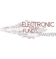 electronic funds word cloud concept vector image vector image