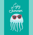 enjoy summer blue cute jellyfish wearing glasses vector image vector image