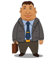fat businessman with a case vector image vector image