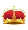 golden monarchical crown with stones on white vector image vector image