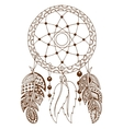 Hand drawn colored dreamcatcher vector image vector image