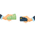 hands holding credit plastic card and money bills vector image
