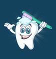 healthy happy tooth concept banner cartoon style vector image vector image