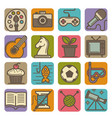 hobby and leisure time activities bright icons set vector image