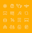honey apiary thin line icons set vector image vector image