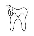 human tooth with decay kawaii character vector image vector image