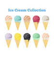 ice cream collection cones black icecream vector image vector image
