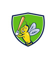 Killer Bee Baseball Player Batting Crest Cartoon vector image vector image