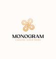 letter p monogram flower gradient color logo vector image vector image