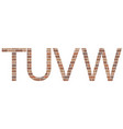 letters tuvw in bricks vector image vector image