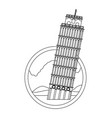 line leaning tower of pisa with nice landscape vector image vector image