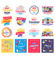 literacy and teachers day isolated stickers set vector image vector image