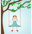Little girl swinging vector image vector image