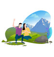 man and woman sitting on hill mountains vector image vector image