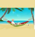 Man businessman sitting in hammock on the sea vector image