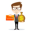 man in suit shows plastic cards and money bag vector image vector image