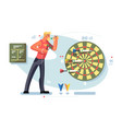 man playing darts game championship concept vector image