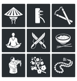 Martial Arts Wing Chun Icons Set vector image vector image