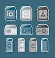 metallic safe box with closed door labels set vector image vector image