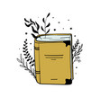 old yellow book with plant branches and leaves vector image