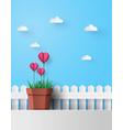 pink flower heart in pot vector image