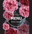 pink roses watercolor menu card template vector image vector image