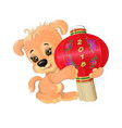 puppy with chinese lantern vector image