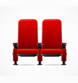 realistic detailed 3d red cinema couple chairs vector image