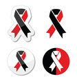 Red and black ribbons set - atheism symbol vector image vector image