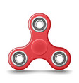 Red plastic hand fidget spinner toy - stress and vector image
