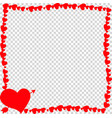 red vintage border made of hearts with arrow vector image vector image