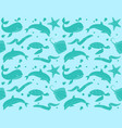 seamless pattern with fish and marine life vector image vector image