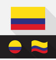 set colombia flag flat design vector image vector image