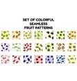 set colorful fruit seamless patterns flat vector image