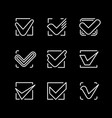 set line icons of check mark vector image vector image