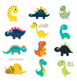 set of little cute dinos vector image vector image