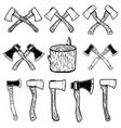 set of the wood cuts lumberjack axes design vector image vector image