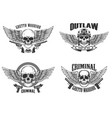 set winged skulls with weapon design elements vector image vector image