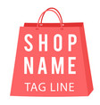 shop name tag line pink bag background imag vector image