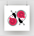 silhouette of cartoon snail with eyes vector image vector image