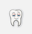 sticker happy drunk tooth with eyes vector image vector image