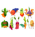 superhero fruits fruity cartoon character vector image vector image