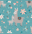 teal mama llama seamless pattern background vector image
