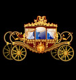 vintage horse carriage with golden florid ornament vector image