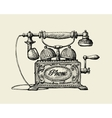 Vintage telephone Hand-drawn sketch retro phone vector image vector image