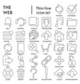 web thin line signed icon set system symbols vector image vector image