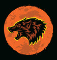 wolf howling logo moon background vector image