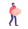 young caucasian white man carrying cardboard box vector image