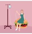woman sick because of junk food burger vector image
